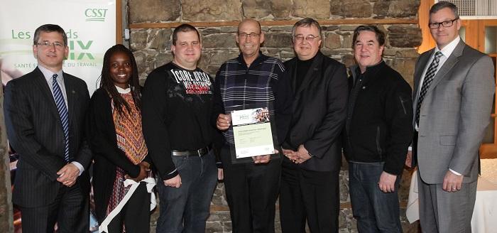 Grand Prix 2015 Sante et Securite du travail Service Travaux publics Ville de Valleyfield Photo courtoisie CSST