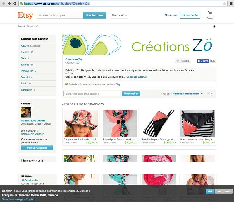CreationsZo page accueil site vente en ligne Etsy