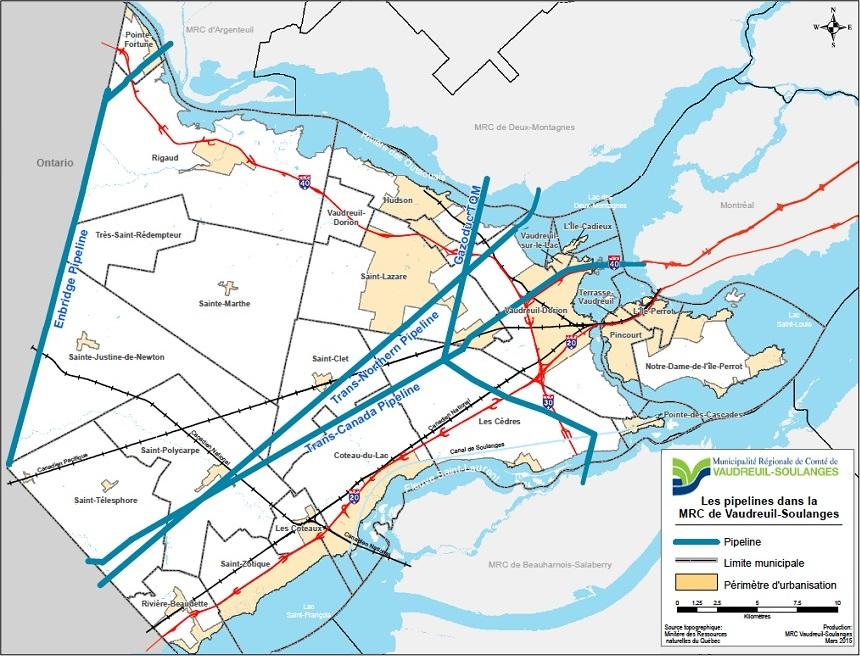 Pipelines dans MRC de Vaudreuil-Soulanges Image courtoisie MRC