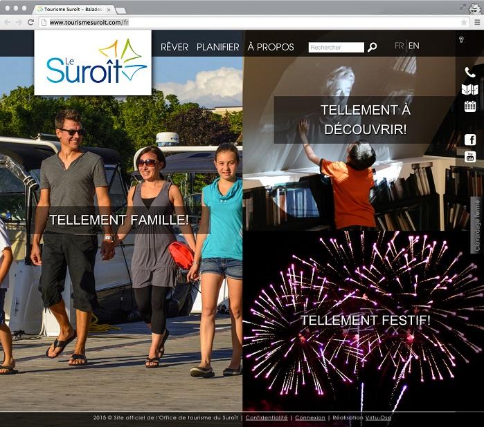 Tourisme Suroit capture ecran site Web page accueil tellement famille