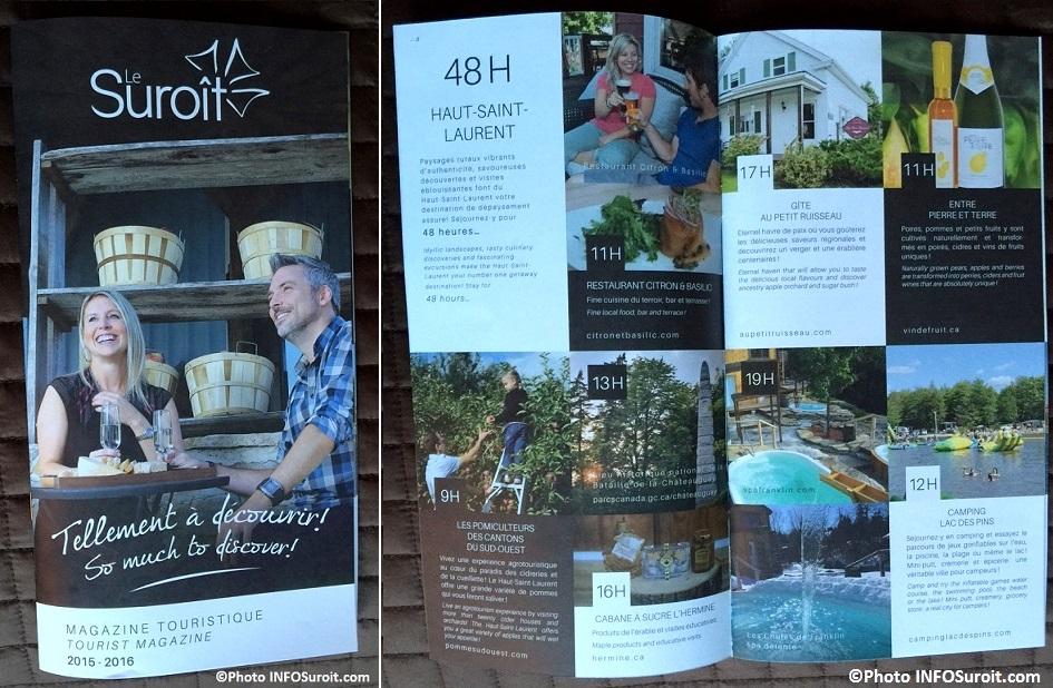 Tourisme Suroit lancement Magazine 2015 Couverture et page Haut-St-Laurent Photos INFOSuroit_com
