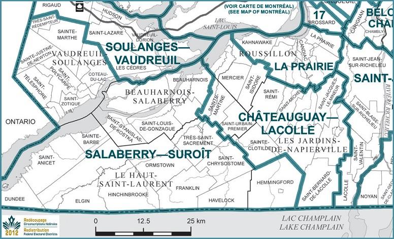 Carte electorale Redecoupage circonspriptions federales final 2014 Sud du Qc