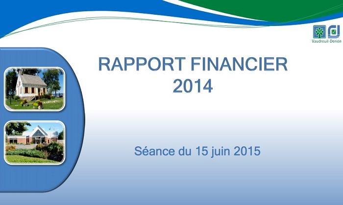 Rapport financier 2014 Ville de Vaudreuil-Dorion page couverture