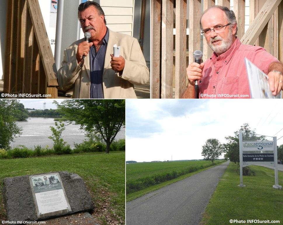 Yves_Daoust Laurent_Lazure et panneaux Parc Gaetan_Montpetit et parc regional de Beauharnois-Salaberry Photos INFOSuroit_com