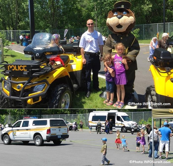 enfants famille Heon-Cardinal avec agent Securi-Parc et Polixe au nouveau poste SQ et tire de camion par enfants Photos INFOSuroit_com