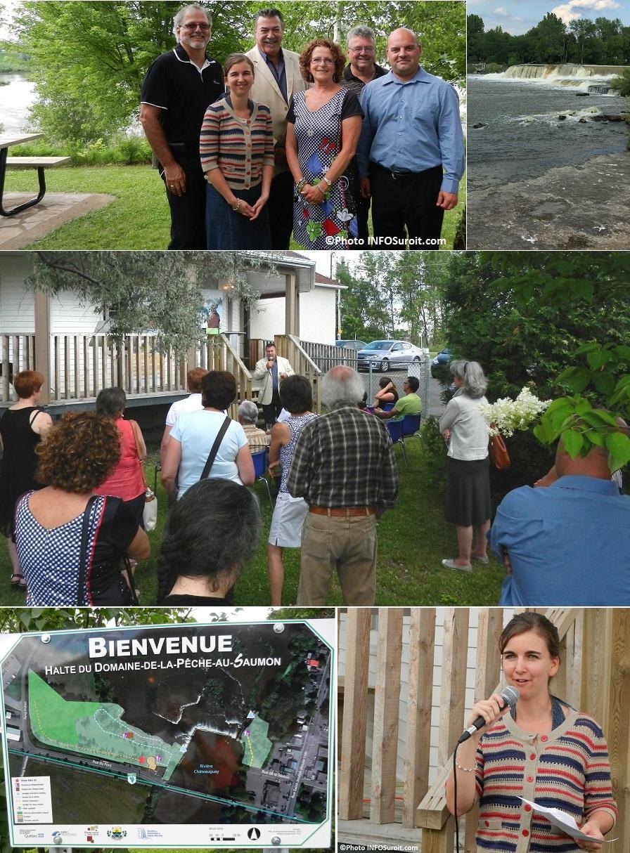 inauguration Halte Domaine-de-la-Peche-au-Saumon a Ste-Martine elus riviere assistance panneau Photos INFOSuroit_com