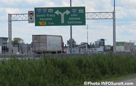A40 Vaudreuil-Dorion panneau autoroutes 20 30 40 401 417 Photo INFOSuroit_com