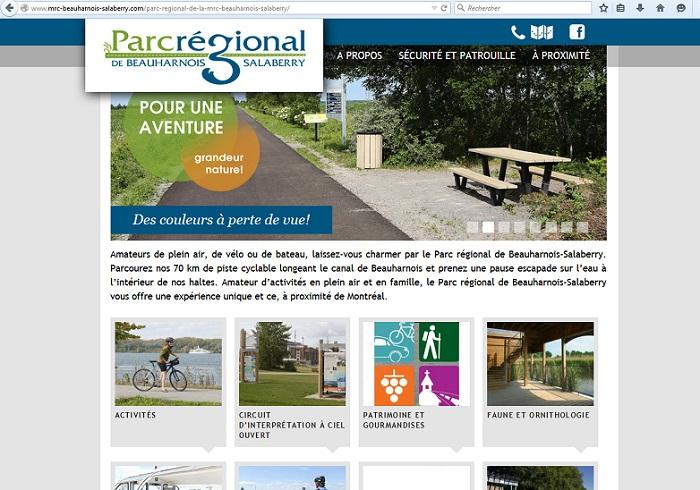 Capture ecran site Web Parc regional Beauharnois-Salaberry 30 juin 2015