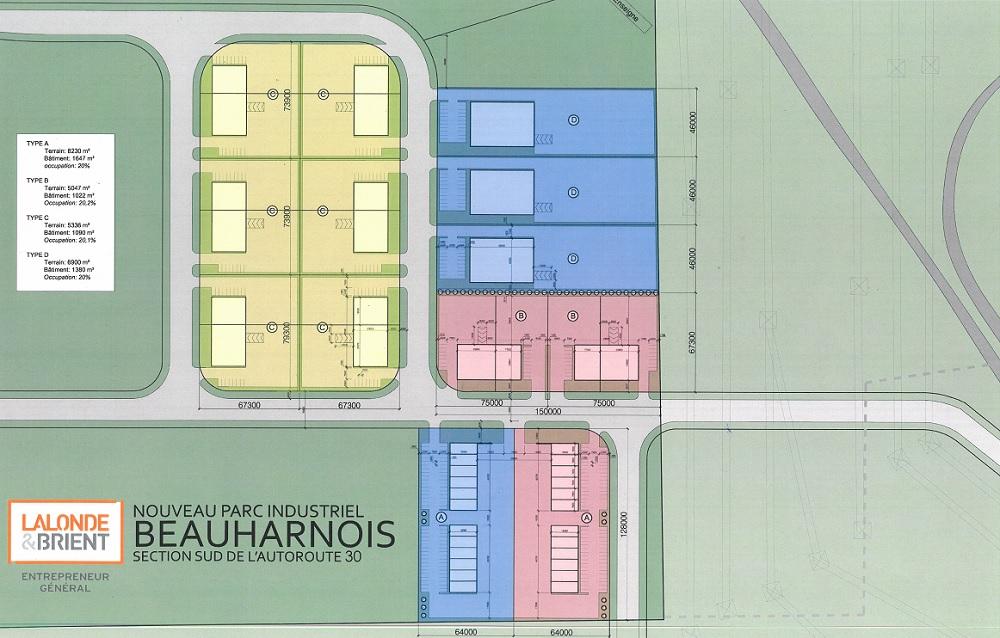 Lalonde_et_Brient plan du projet nouveau Parc industriel Beauharnois au sud de A30 Image siteWeb lalonde-brient_com