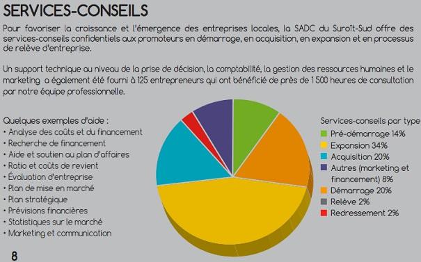 SADC Rapport annuel 2014-2015 tableau Services-conseils Image courtoisie