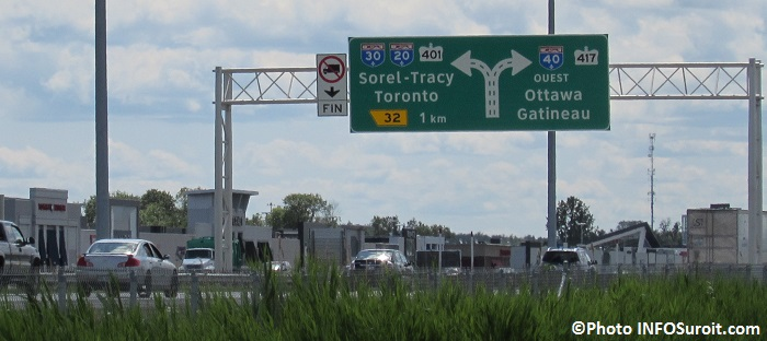 A40 a Vaudreuil-Dorion panneau autoroutes A20 A30 401 A40 et 417 Photo INFOSuroit_com