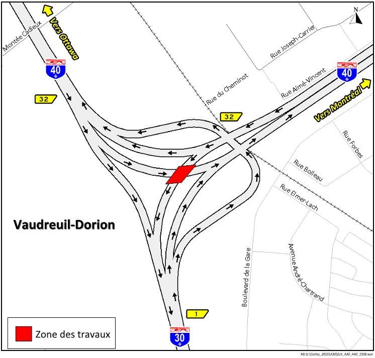 Carte localisation travaux A-40 et A-30 a Vaudreuil-Dorion Source MTQ