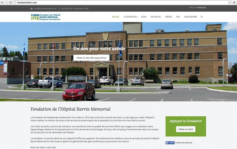 Fondation Hopital Barrie Memorial capture ecran site Web
