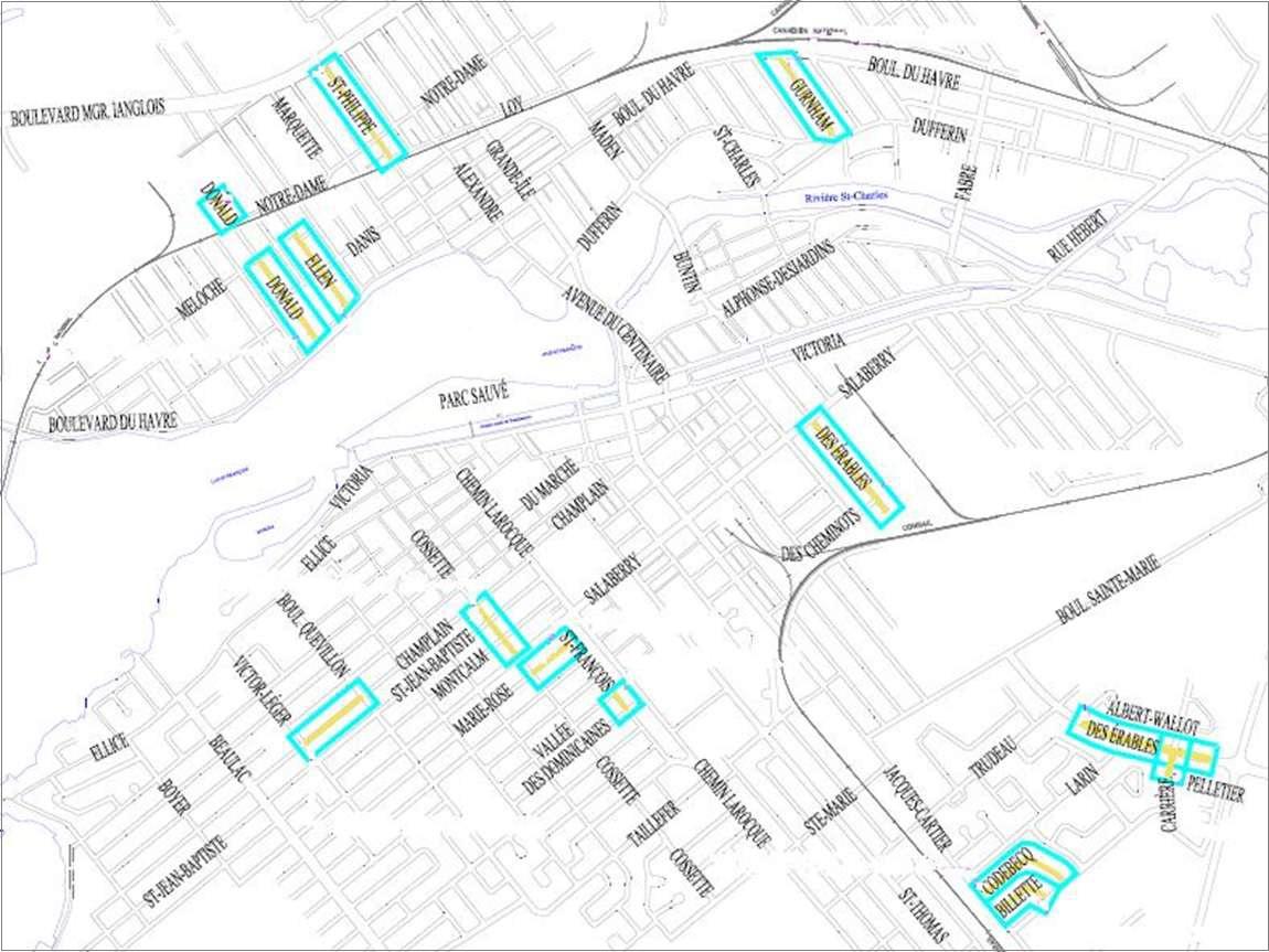 carte de travaux de renovation aqueduc a Valleyfeild Image courtoisie