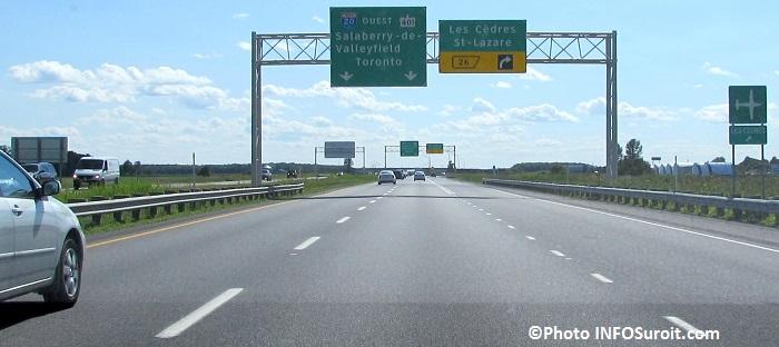 Autoroute 20 Ouest A20 O pres des cedres Photo INFOSuroit_com