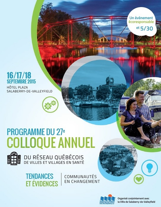 Colloque Villes et Villages en sante 2015 a Valleyfield Depliant