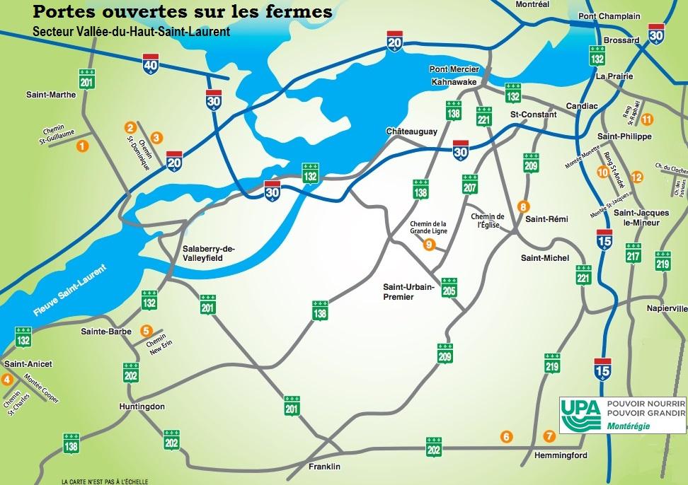 carte Portes ouvertes sur les fermes via UPA Monteregie