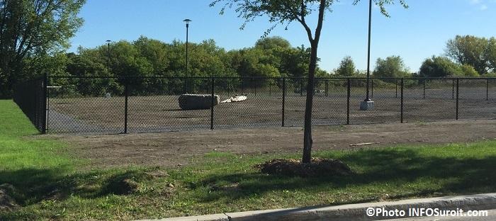 parc a chiens a Valleyfield avec roche tronc d arbre et lampadaires Photo INFOSuroit