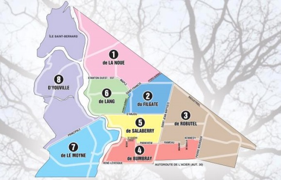 Chateauguay carte des districts secteurs Image courtoisie Ville de Chateauguay