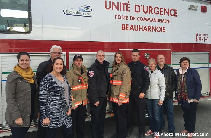 Coup de chapeau des pompiers de Beauharnois pour hopital Anna-Laberge Photo INFOSuroit