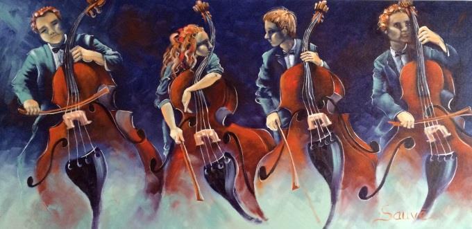 artiste-peintre Guylaine_Sauve tableau Quatuor de contrebasses Photo courtoisie MRC