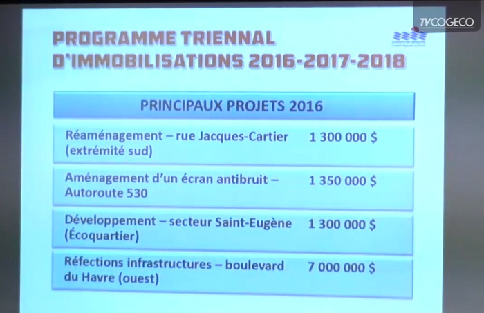 Extrait programme triennal immobilisation budget 2016 Valleyfield