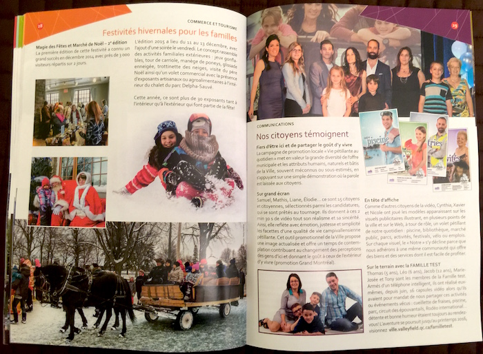 brochure Bilan realisations 2015 Valleyfield page festivites familles