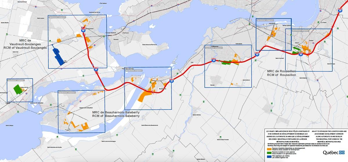 carte du gouvernement du Qc pour la creation de pole logistique Image courtoisie Qc