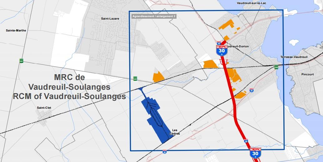 carte-pole-logistique-Les-Cedres-Vaudreuil-Soulanges-photo-courtoisie-publiee-par-INFOSuroit_com