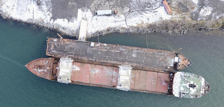cargo Kathryn_Spirit a Beauharnois vue du ciel Photo courtoisie publiee par INFOSuroit.com_