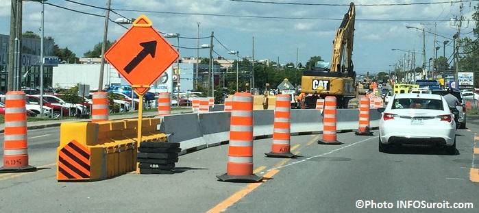 circulation travaux sur boulevard St-Jean-Baptiste Chateauguay detour Photo INFOSuroit_com