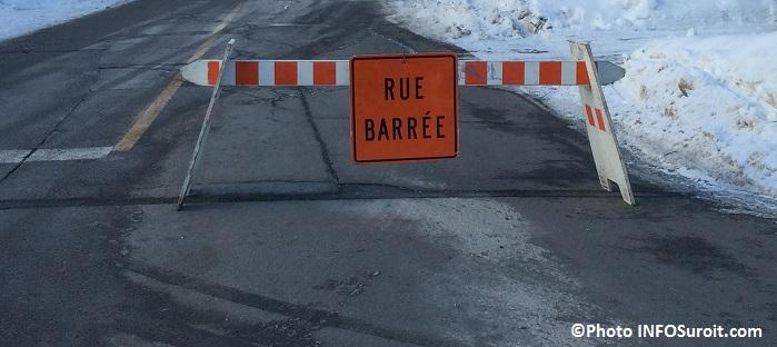 detour travaux panneau rue barree hiver a Valleyfield Photo INFOSuroit_com