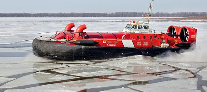 aeroglisseur de la Garde cotiere canadienne glace riviere Photo courtoisie GCC