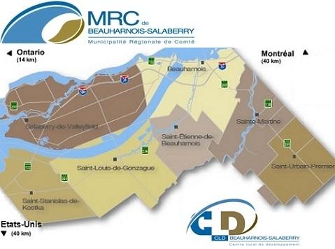 carte de Beauharnois-Salaberry avec les logos CLD et MRC Visuel courtoisie publie par INFOSuroit