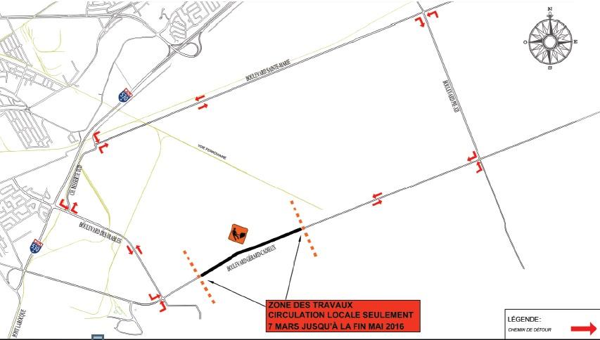 Plan des travaux sur le boulevard Gérard-Cadieux