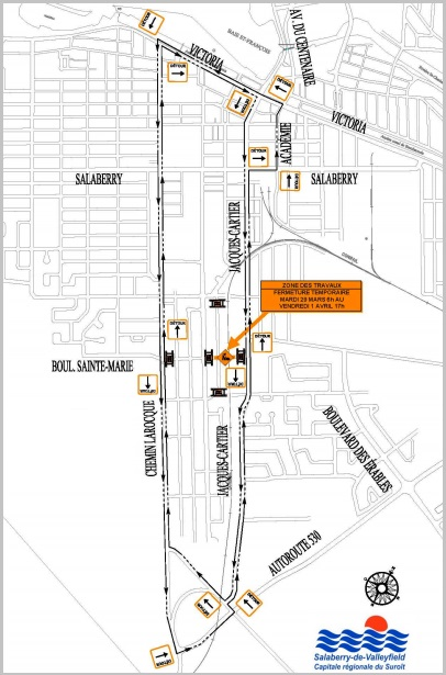 detour travaux boulevard Sainte-Marie a Valleyfield Carte courtoisie SDV