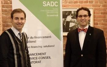 François Charron conférencier web en 2012 avec Pierre-Luc Joncas de la SADC Photo courtoisie