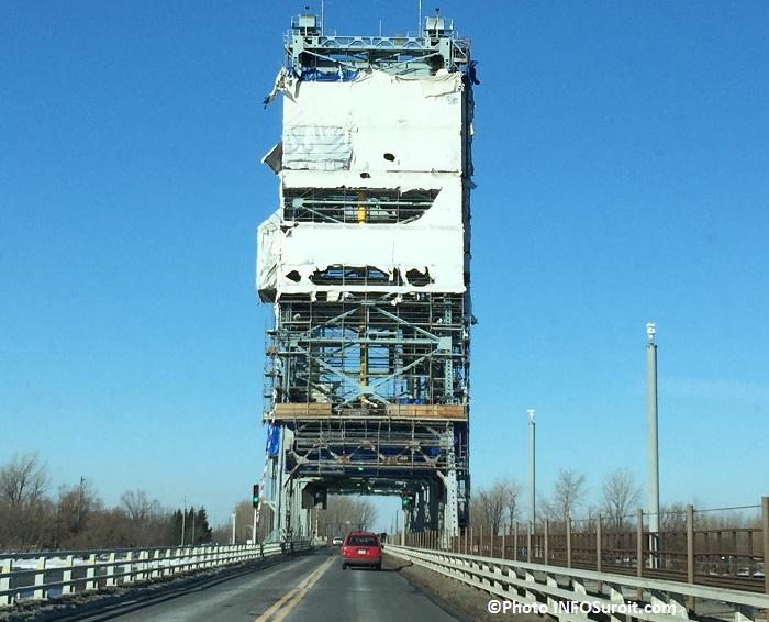 pont larocque valleyfield mars 2016 avec echafaudages photo infosuroit