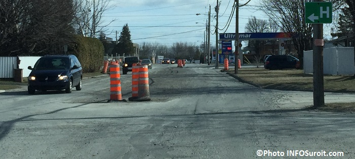 boulevard Sainte-Marie a Valleyfield travaux cones oranges photo infosuroit