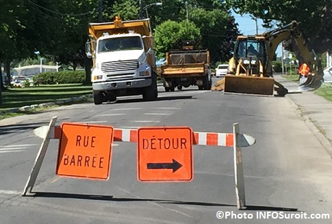 boulevard du Havre Valleyfield travaux 2016 camion excavation detour Photo INFOSuroit