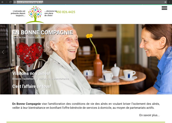 Site Web enbonnecompagnie dans le HautStLaurent page accueil