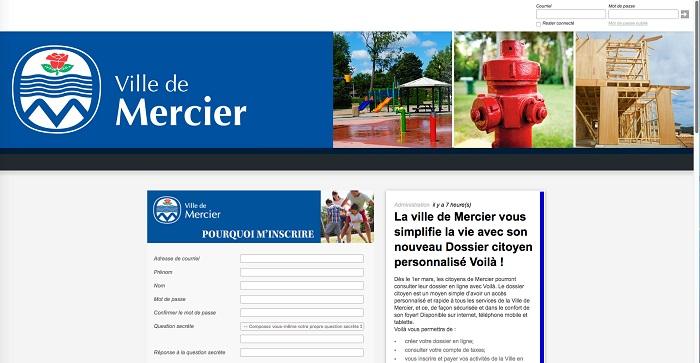 Ville de Mercier site Web pour application Voila dossier citoyen Capture ecran fev2017