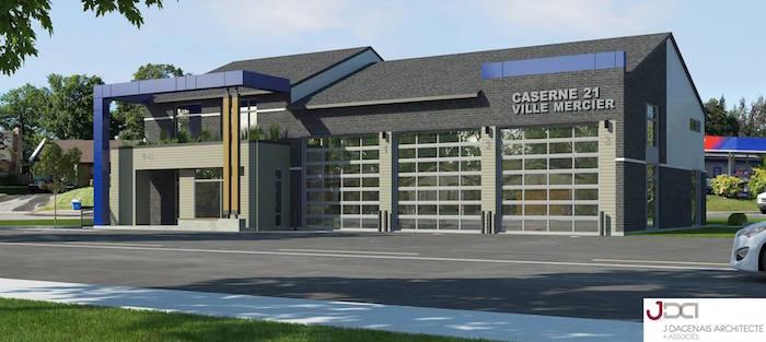 caserne pompiers securite incendie Ville Mercier visuel architecte JDagenais via Ville Mercier