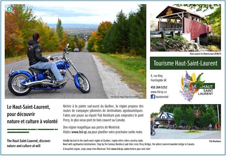 pub CarnetMotoQc tourisme Haut-Saint-Laurent Courtoisie CLDHSL