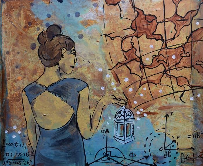 peinture Femme_a_la_lanterne Copyright Audree_Bourdeau artiste Photo courtoisie MRVS