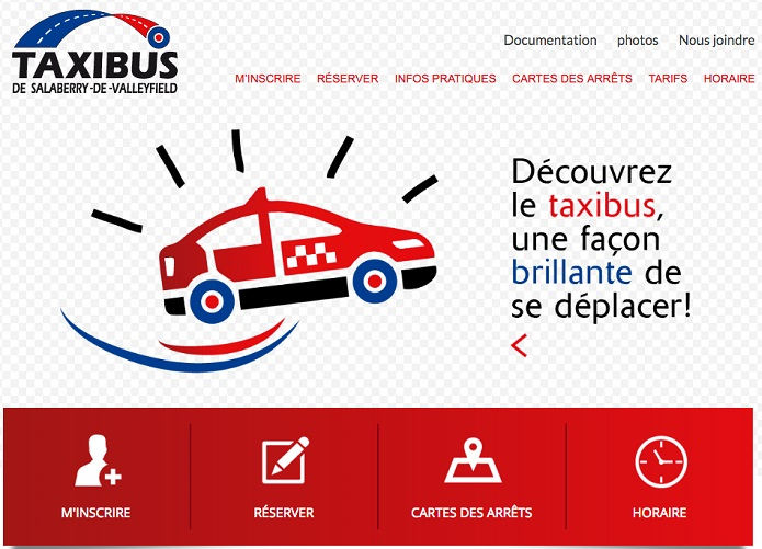 site Web Taxibus Valleyfield extrait page accueil