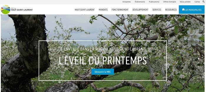 Nouveau site Web MRC Haut-Saint-Laurent mai 2017 capture ecran
