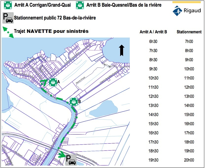 carte navette pour sinistres inondations 2017 Rigaud