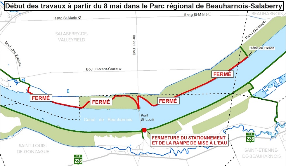 carte parc regional Beauharnois-Salaberry Travaux piste_cyclable rive_nord 8mai2017