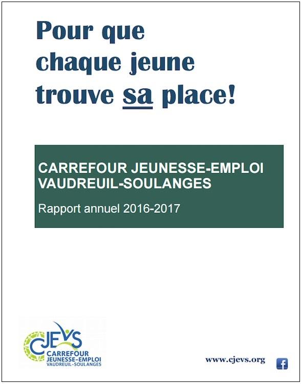CJEVS Rapport annuel 2016-2017 page couverture Visuel courtoisie